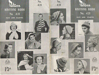vintage 1950s Patton Knitting pattern book No 421 HATS AND SCARVES  beanie