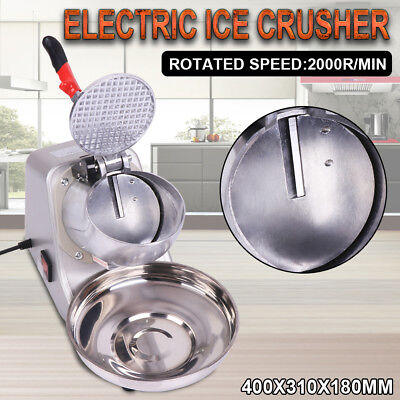 Electric Ice Crusher Shaver Commercial Machine Snow Cone Maker 65KG/H 2000R/min