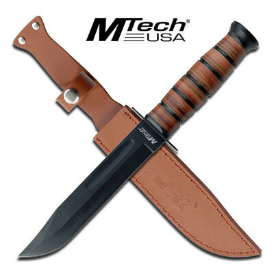 "MTech USA Army Style 12"" Hunting Bowie Knife - LEATHER Handle & Sheath"