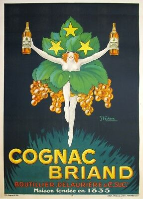 Vintage Cognac Briand Art Deco Advertising Poster Print Picture A3 A4 A5
