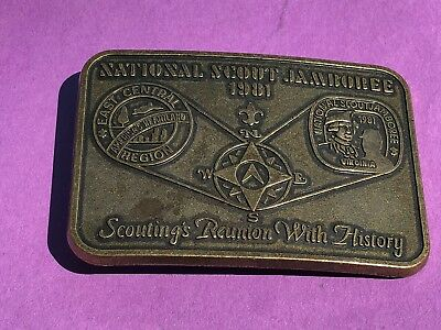 National Scout Jamboree BSA  Reunion with History belt buckle 1981 Virginia