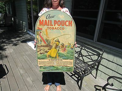 ORIGINAL 1920's 30's CHEW MAIL POUCH TOBACCO TOMBSTONE SIGN 'HE PUNISHED THE SEA