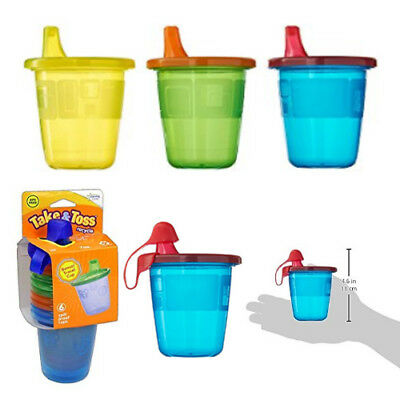 The First Years Take & Toss Spill-Proof Sippy Drink Cups - 7 Oz, 6 Pack, NEW