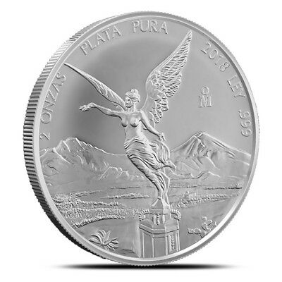 2018 Mexico 2 Troy Oz (2 Onza) Silver Libertad Coin .999 Fine - Gem Uncirculated