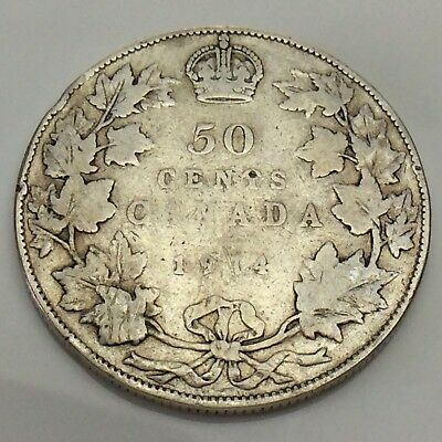 1914 Canada 50 Fifty Cents Half Dollar Canadian Circulated Coin F420