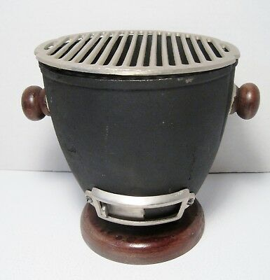 Vintage Anese Mini Hibachi Barbecue Cast Iron Round Grill Ex Condition