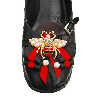Designer Inspired Red Black Bow Tie Strap Shoe Patches With Bee & Pearl Detail