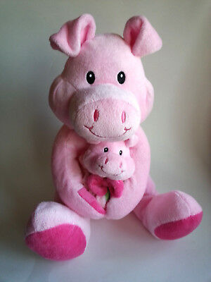 Plush Mama or Papa Pig Baby Piglet with Baby Blanket Hot Pink Stuffed Animal Toy