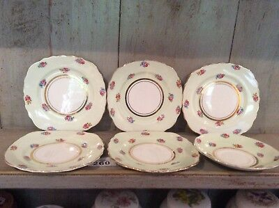 5  Colclough Square Side Plates 1 Saucer Ditsy Rosebuds Pastel Green C1945-48