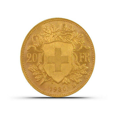 "Swiss 20 Francs ""Helvetia"" Gold Coin - Random Dates - About Uncirculated (AU)"