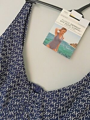 M&S Siz 36Dd 38C Navy Mix Secret Slimming Underwired Plunge Swimsuit Free Post