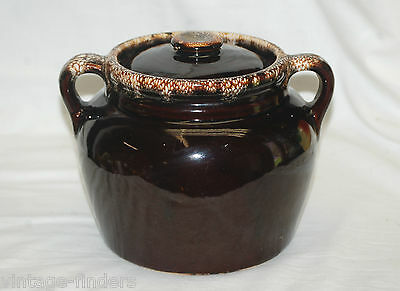 Old Vintage Stoneware Pottery Bean Pot w Lid Brown Drip Pattern Two Handled USA