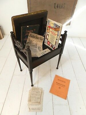 Vintage Antique Piano Stool With Storage And Music Books