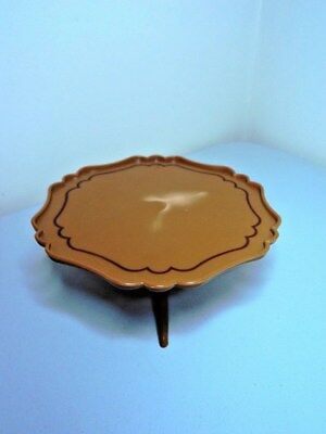 SINDY Doll House Furniture Vintage Round Brown Scalloped Edge COFFEE TABLE  1:6 ?
