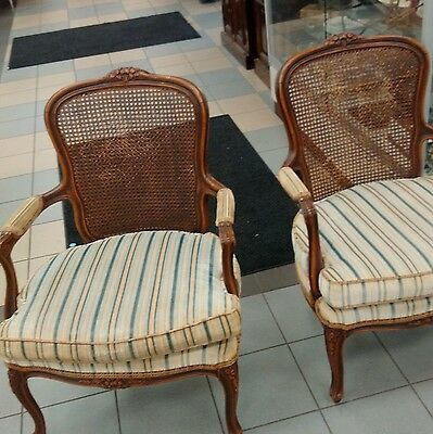 Ethan Allen French Duvall Arm Accent Wicker Chair Upholstery