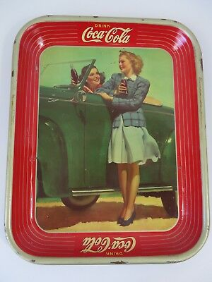 "Vintage Coca Cola Tray WWII Era Girls & Car Red Gold ~ 13.25"" X 10 5/8""  #7608"