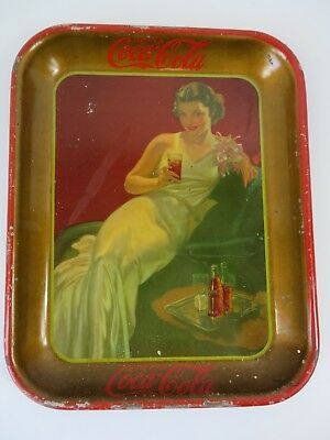 "Vintage Coca Cola Tray 1936 Girl Couch Corsage Red Gold ~ 13.25"" X 10 5/8"" #7609"