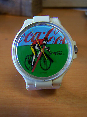 "Coca cola Vintage Cyclist Swiss made Watch ""NEW Battery"""
