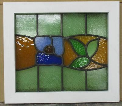 "OLD ENGLISH LEADED STAINED GLASS WINDOW All Color Floral 18.25"" x 16"""
