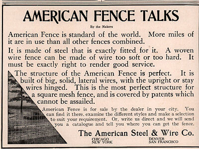 Ad Lot Of 2 Early   American Fence Construction Co Steel Wire