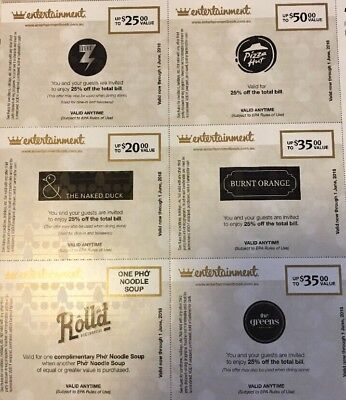 ENTERTAINMENT BOOK VOUCHER Burnt Orange Nsked Duck Pizza Hut Rolld The Greens
