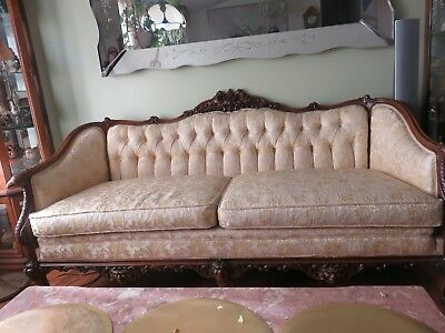 """Antique 72"""" Mahagony Carved Phoenix, Creatures & Northwind Faces, Claw Feet sofa"""