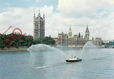 Picture Postcard; FIREBOAT 'FIRE HAWK', HOUSES OF PARLIAMENT LONDON
