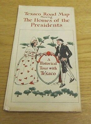 1931 Texaco Gasoline Homes of the Presidents + Northeastern US Road Map 21x28