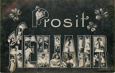 Prosit Neujahr~New Year Large Letter Ladies~Little Girls~Real Photo~1908 Germany