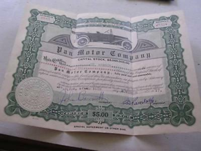 Early 1917 Pan Motor Company Stock Certificate Ed Hanson Signed by S C Pandolfo