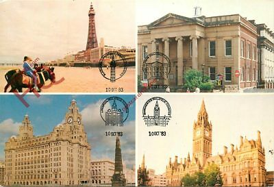 Postcard; Blackpool, Oldham, Liverpool, Manchester Philatelic Society Stamps