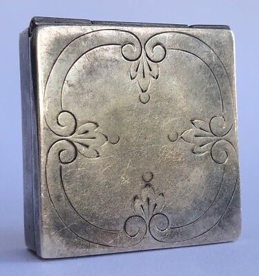 Vintage Sterling Silver Hand Engraved Floral Mini Pill Box
