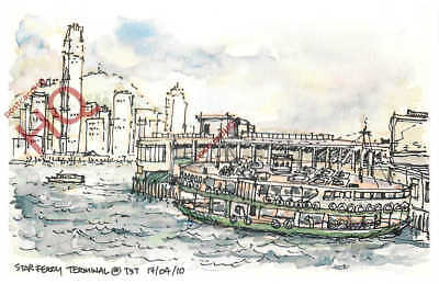 Picture Postcard~ Hong Kong, Star Ferry Terminal [The Art Of Urban Sketching]