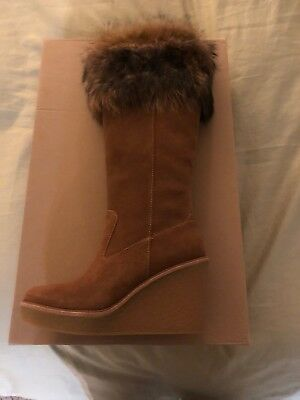 eca9e0cd870 UGG VALBERG Chestnut Size 7 TOSCANA FUR CUFF SUEDE WEDGE TALL BOOTS 1019260