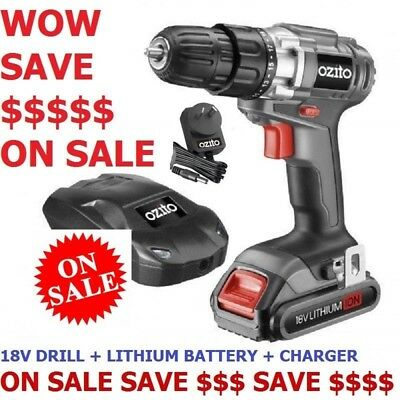 Sale Wow Save $ Ozito 18V Cordless Drill Driver Charger Lithium Battery Tool Diy