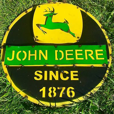 John Deere Since 1876 Recycled Metal Sign 24x24x1