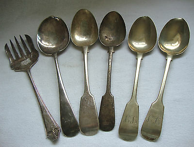 Antique Vintage Used Random Mixed Lot Cutlery Silver Plated Serving Tablespoons
