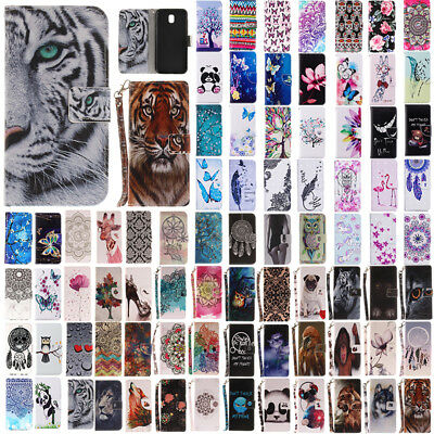 For Samsung Galaxy J3 J5 J7 Pro 2017 Painted Flip Leather Wallet Card Case Cover