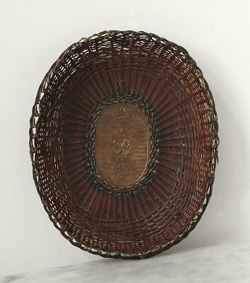 Antique 19th century JAPAN woven wire basket, Edo period, signed