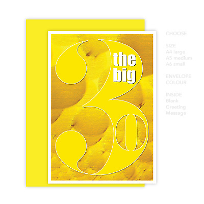 Funny 30th Happy Birthday Card for him for her the big 3 0 for dad mum aunt