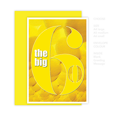 Funny 60th Happy Birthday Card for him for her the big 6 0 for dad mum mom