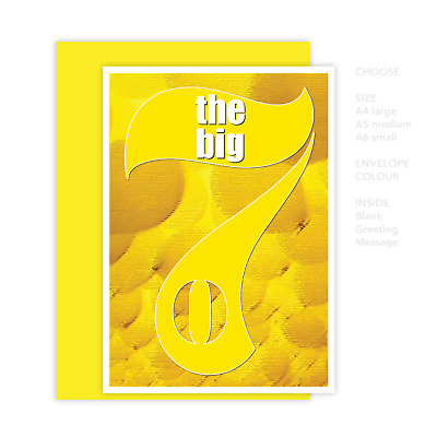 Funny 70th Happy Birthday Card for him for her the big 7 0 for dad mum mom