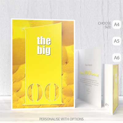Funny 100th Happy Birthday Card for him for her the big 1 0 0 for dad mum mom