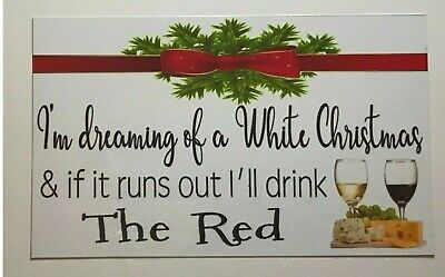 Christmas Wine Red White Sign Wall Plaque Hanging Christmas Xmas Decoration