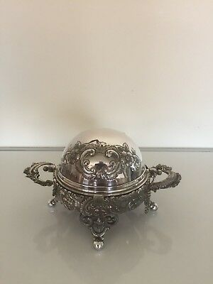 Stunning 2 Handled Victorian Chaffing Dish On 4 Ball Feet