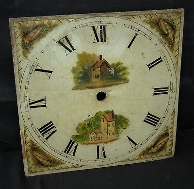 Nice Hand Painted 19th Century Grandfather Longcase Clock Dial