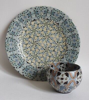 Fine Vallauris Jean Gerbino Mosaic studio pottery bowl and plate - marked