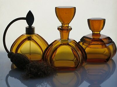 Gorgeous Antique Art Deco Bohemian Czech glass perfume set of 3 pieces