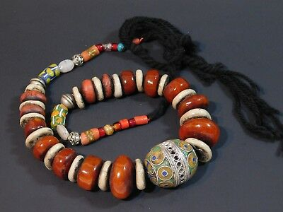 African Jewelry Tagmoute Egg W/ Enamel & Berber Resin Beads Ethnic Necklace