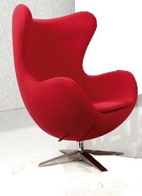 Armchair Reclinable Red Egg Chair Arne Jacobsen Tilting Fabric Red Wool